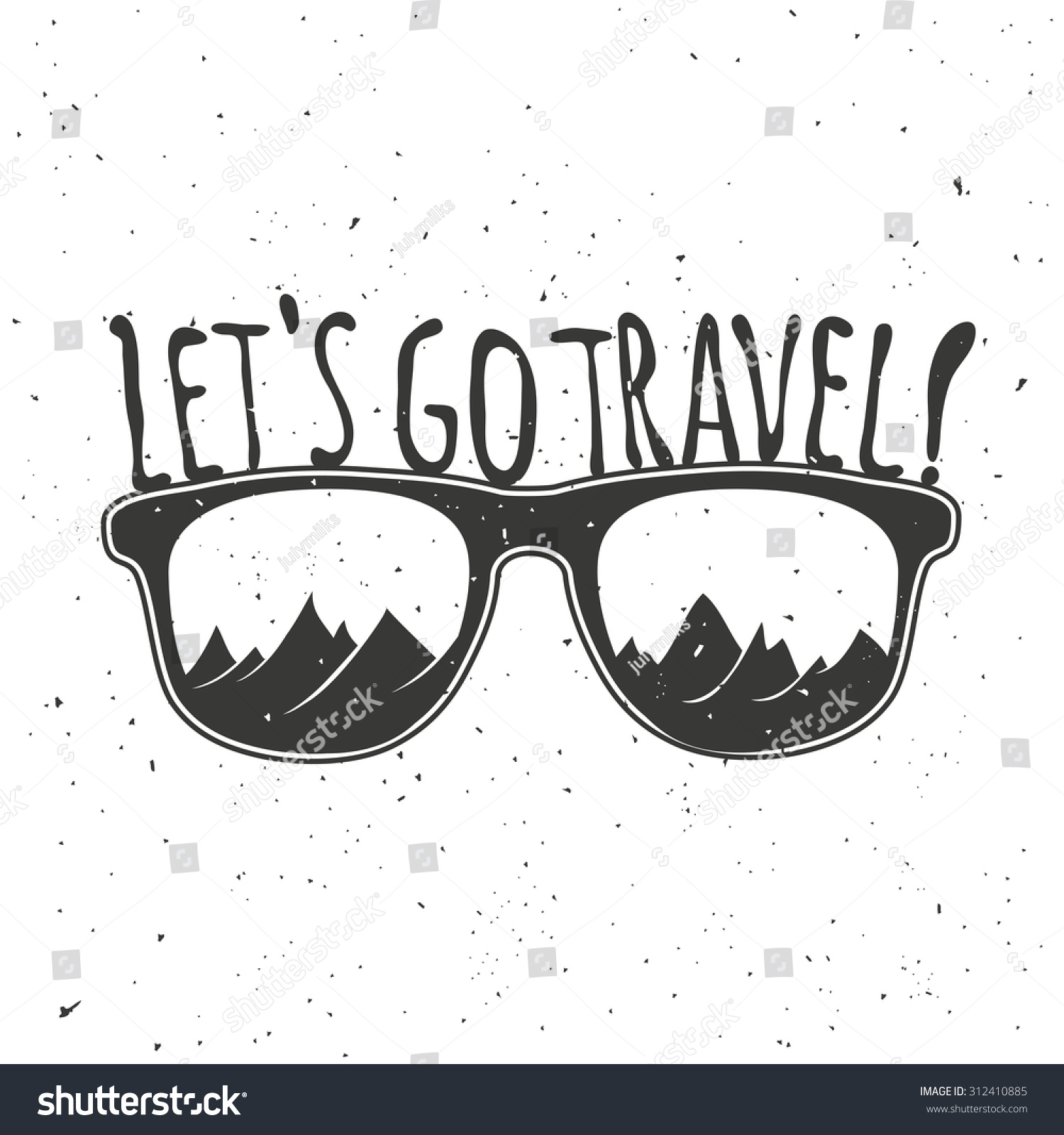 Lets Go Travel Vintage Hipster Vector Stock Vector