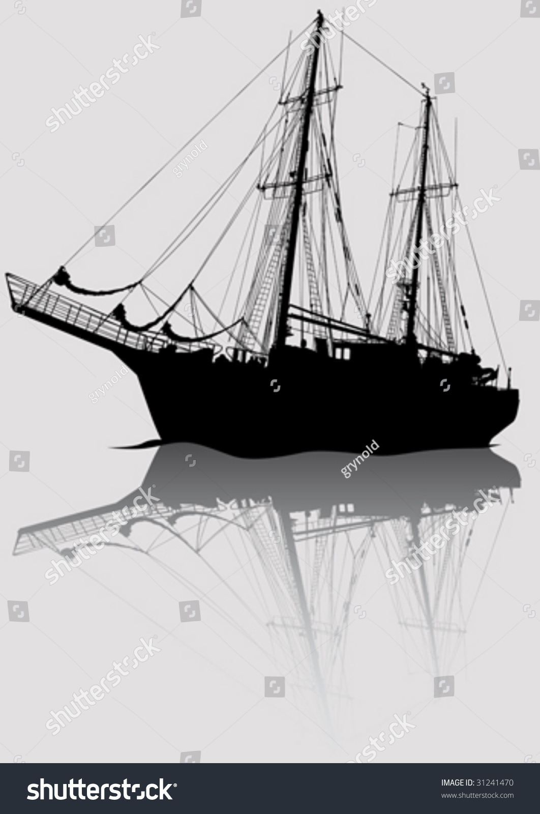 Vector Drawing Old Sailing Ship Stock Vector 31241470 ...