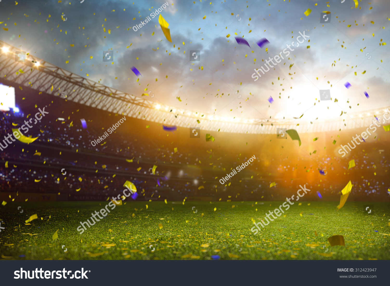 Evening stadium arena soccer field championship win! Confetti and tinsel . Yellow toning #312423947