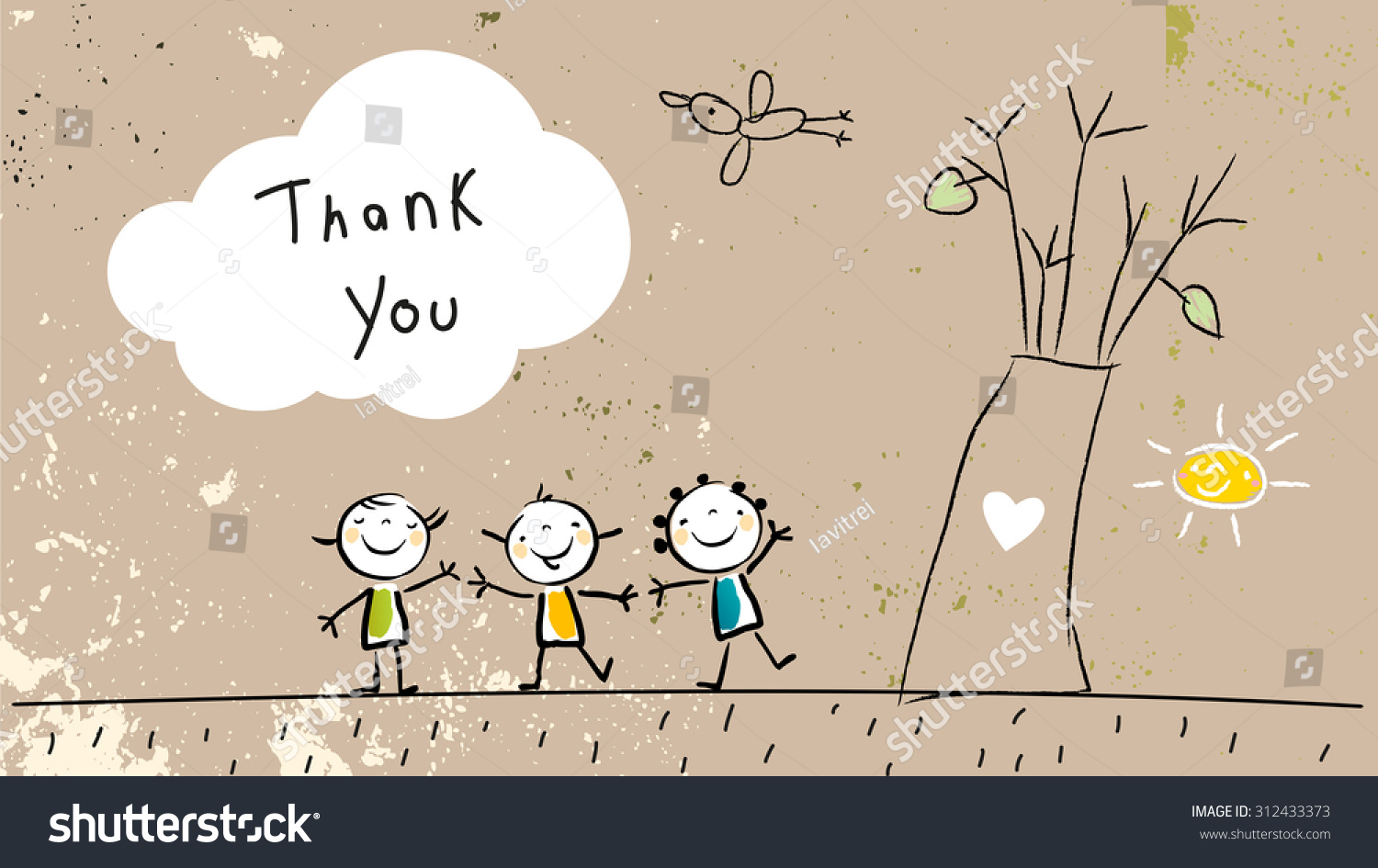 Thank you card with happy kids group near tree saying thank you in a cloud Cartoon sketch doodle vector illustration