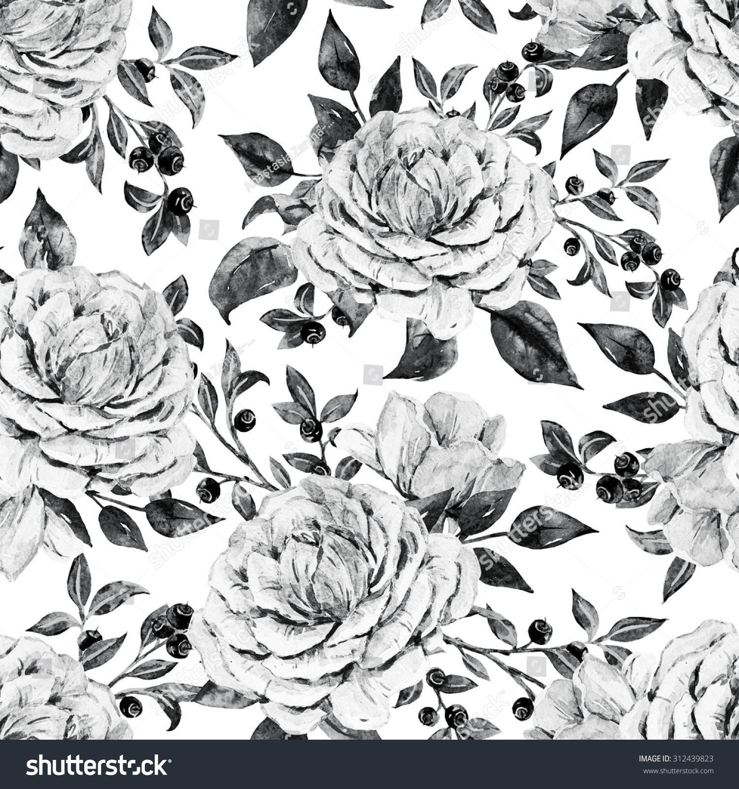 Black White Floral Pattern Watercolor Rose Stock Illustration