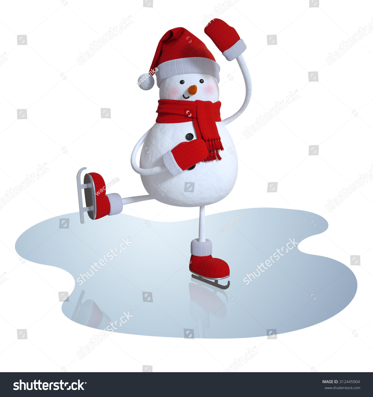 Cute Snowman Figure Skating 3d Character Stock