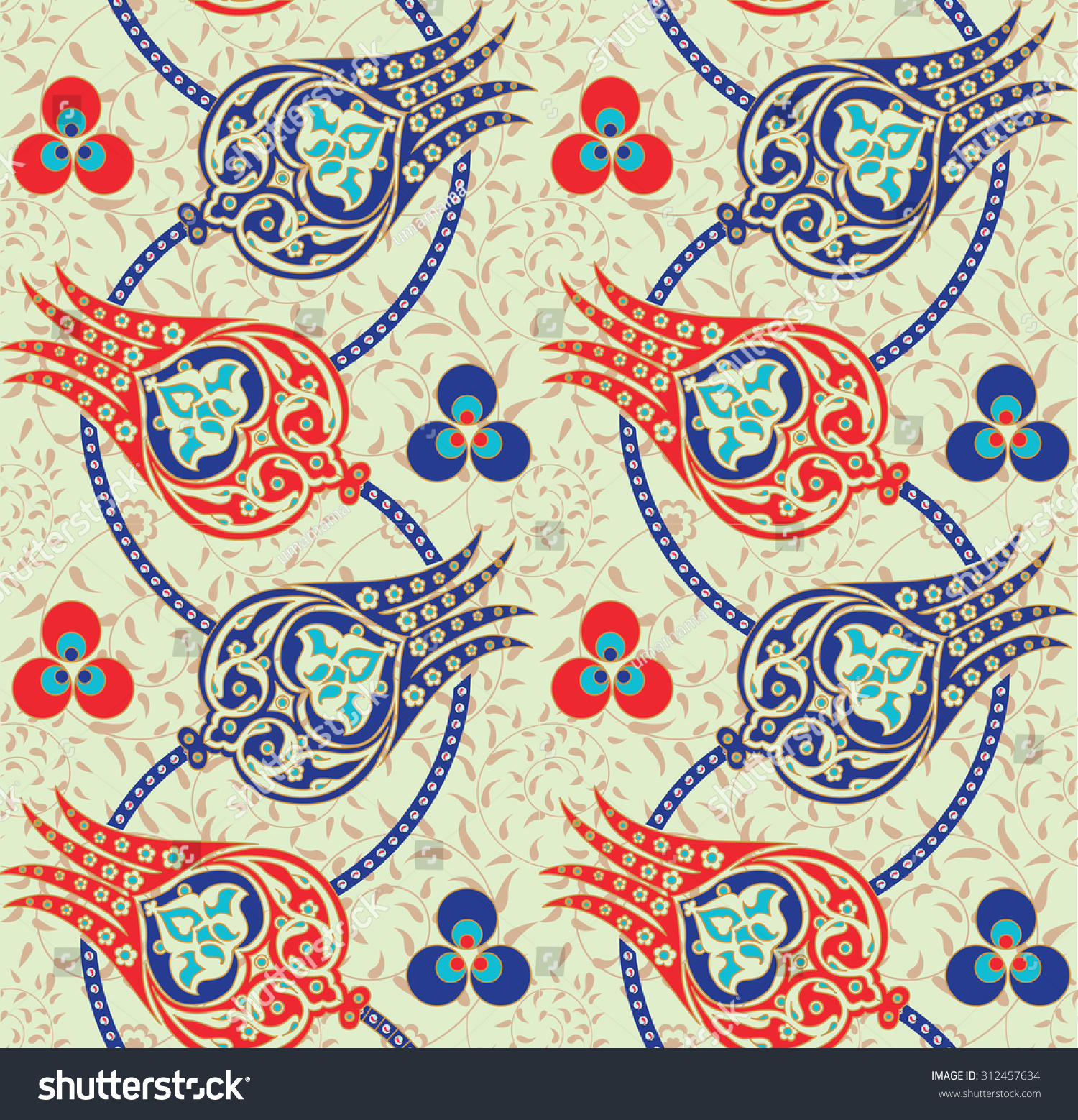 Traditional Turkish Ottoman Red Flower Home Decor Mosaic: Seamless Traditional Turkish Ottoman Floral Pattern Stock