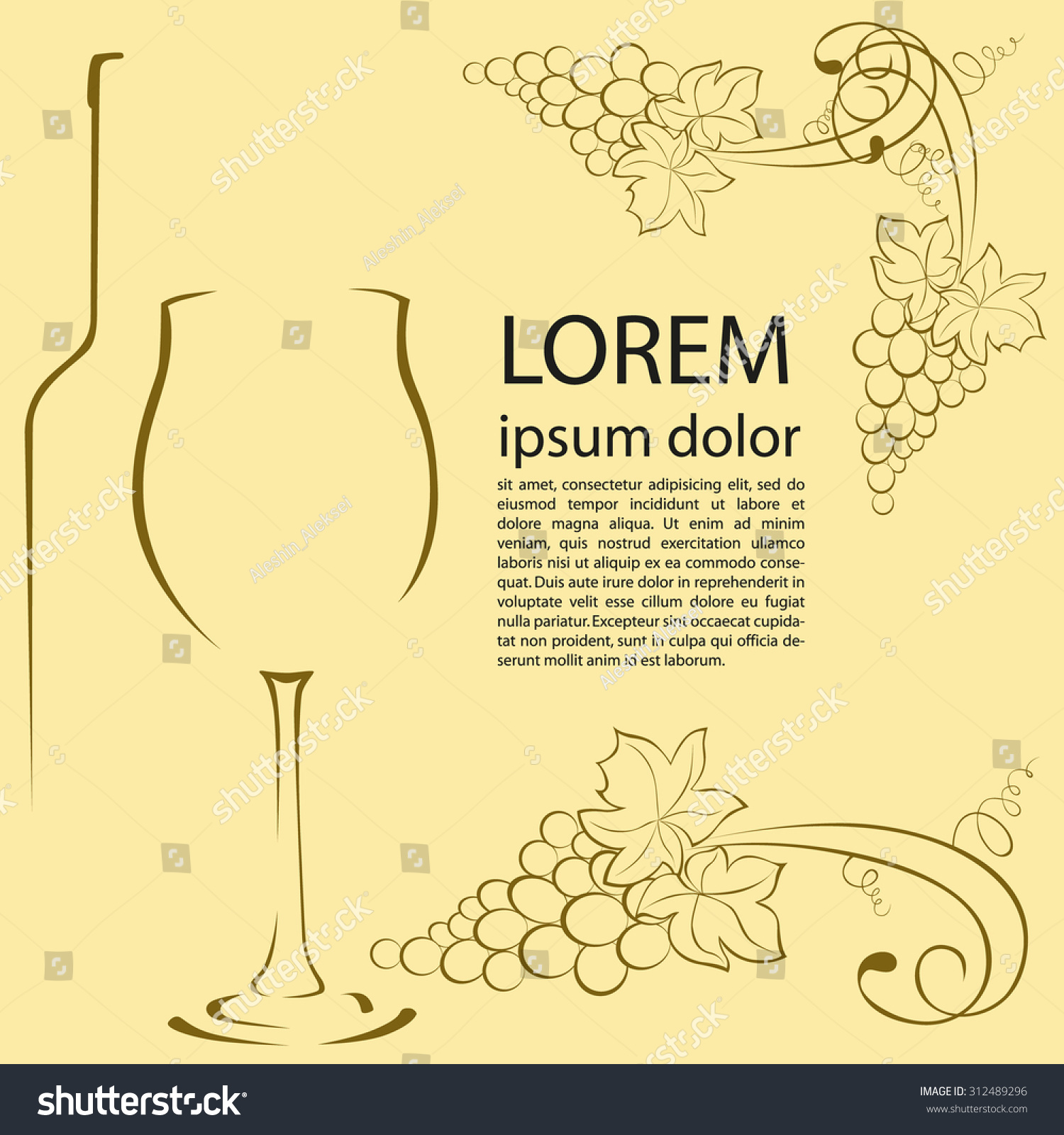 Bottle Wine Glass Grapes Contour Graphic Stock Vector Royalty Free