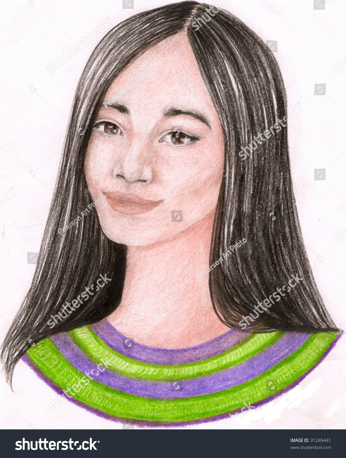 A colored pencil sketch of a pretty girl looking to one side with long black hair