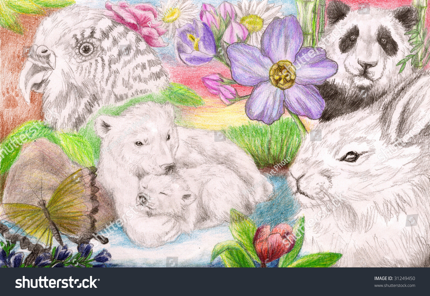 colored pencil sketch collection several types stock illustration