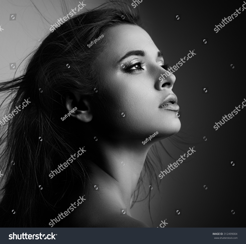 beautiful mystic woman profile long hair stock photo