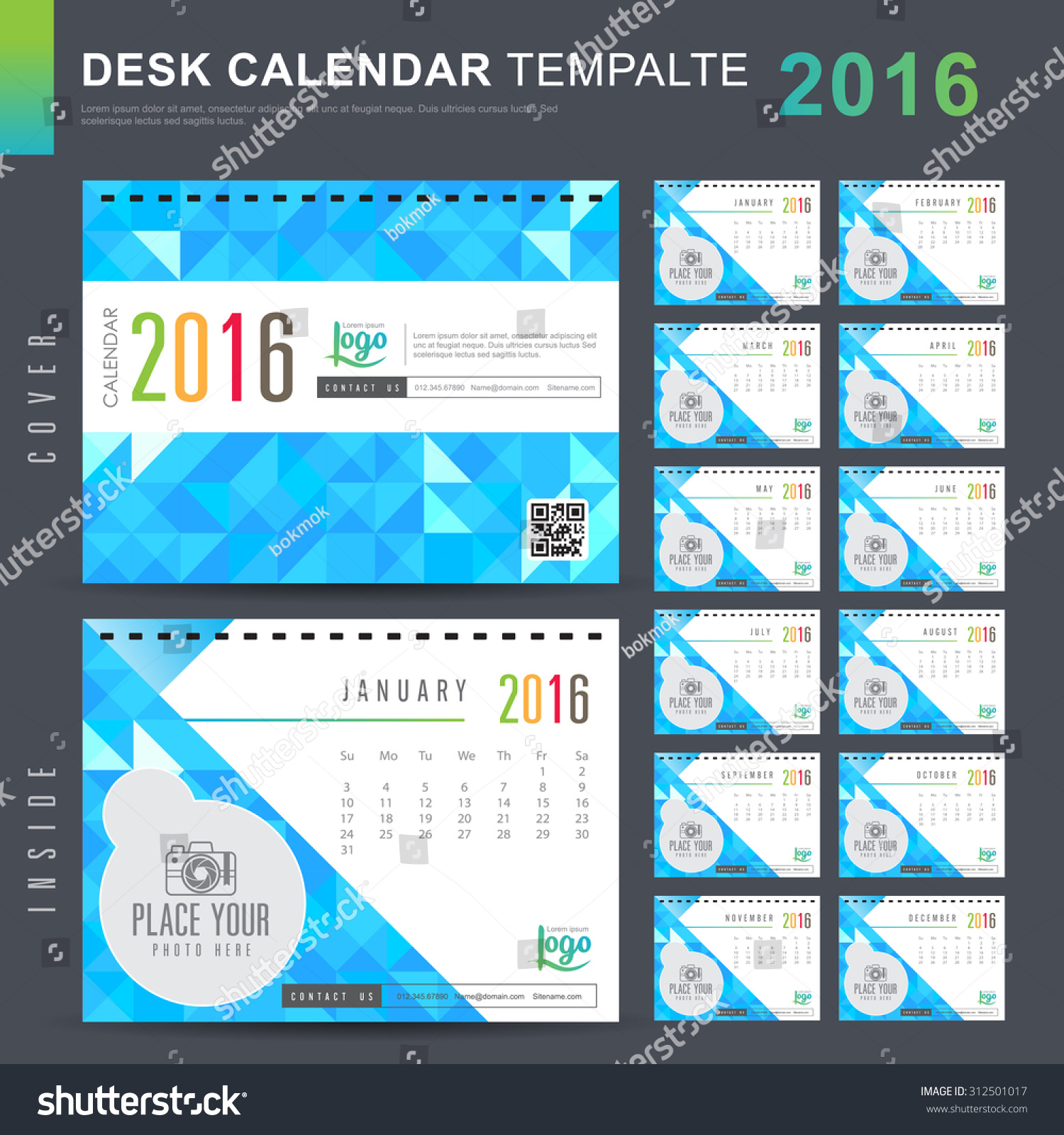 Table Calendar 2016 : Desk calendar vector design template stock