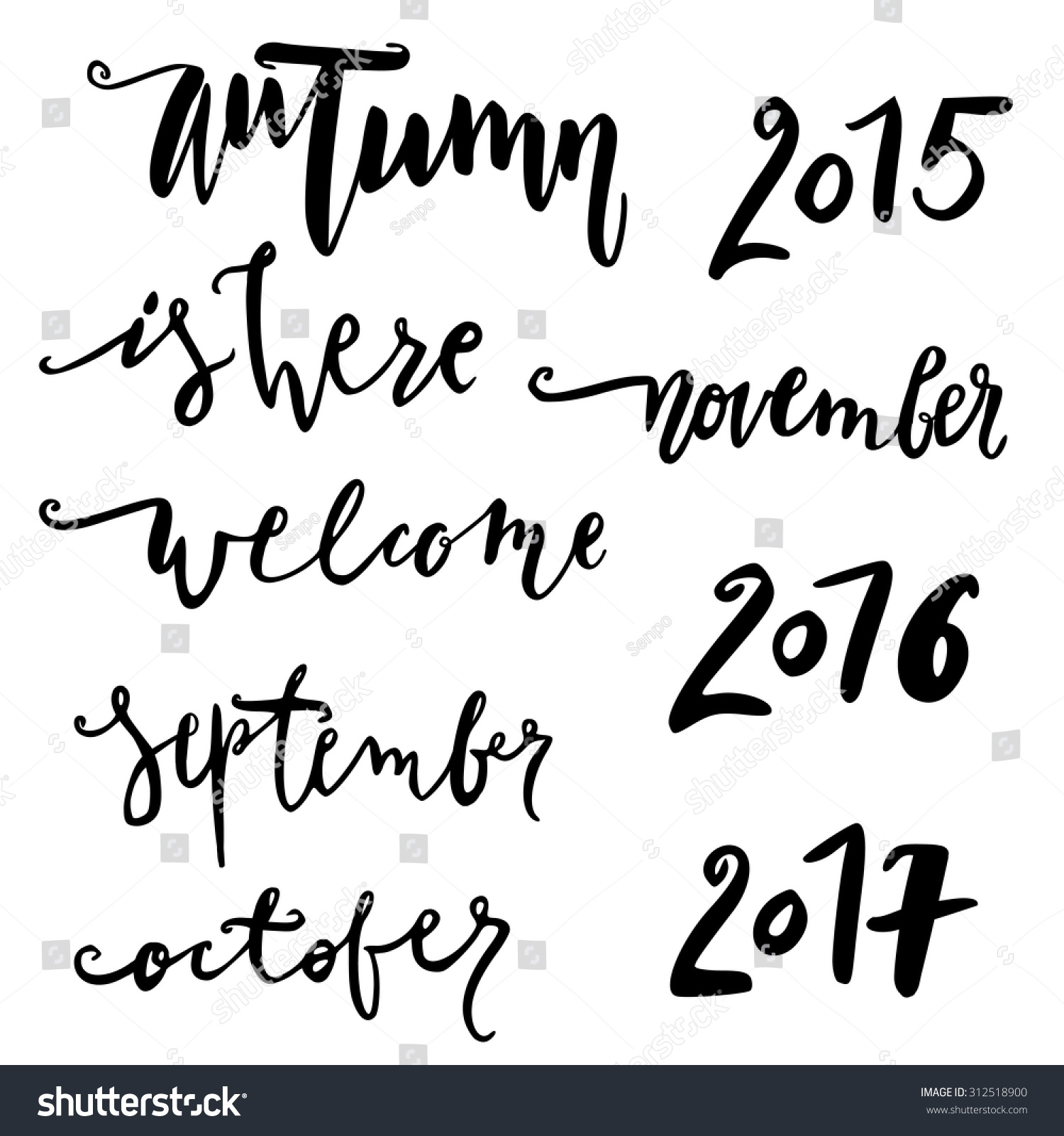 Hello october hand drawn lettering autumn quote modern