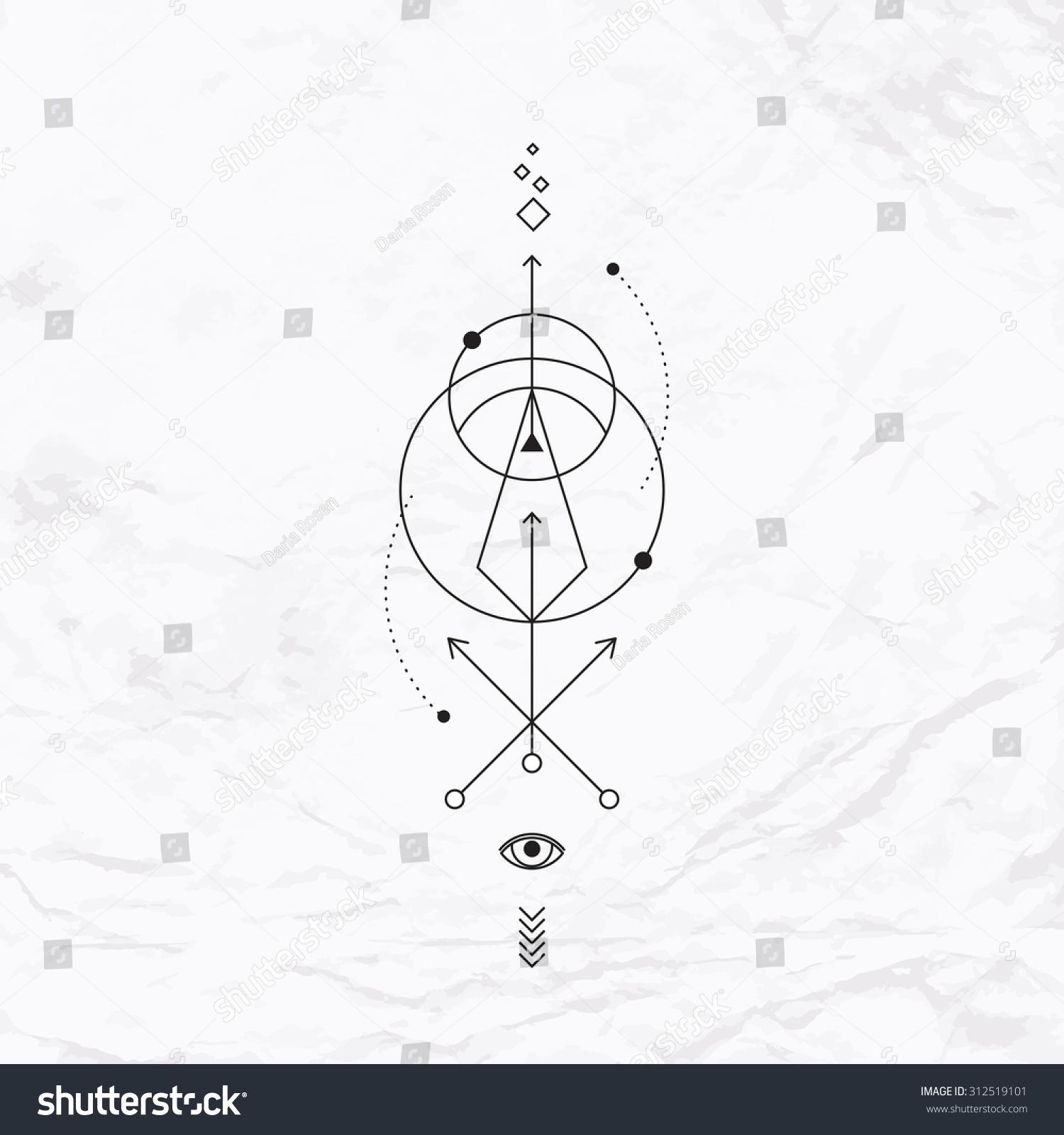 vector geometric alchemy symbol eye circle stock vector 312519101 shutterstock. Black Bedroom Furniture Sets. Home Design Ideas
