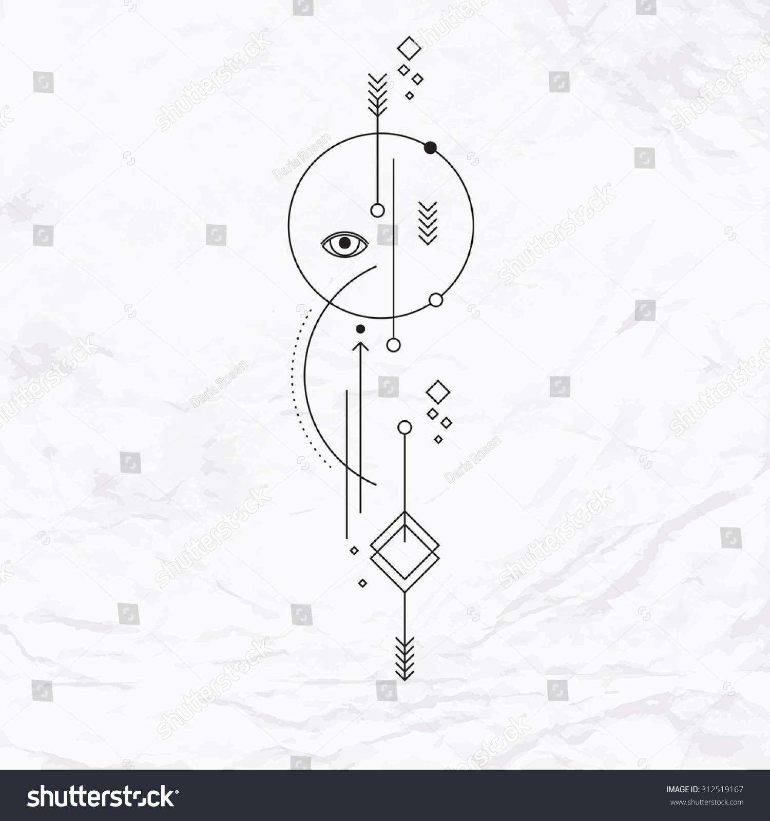 Abstract Mystic Sign Geometric Shapes Arrows Stock Vector ...