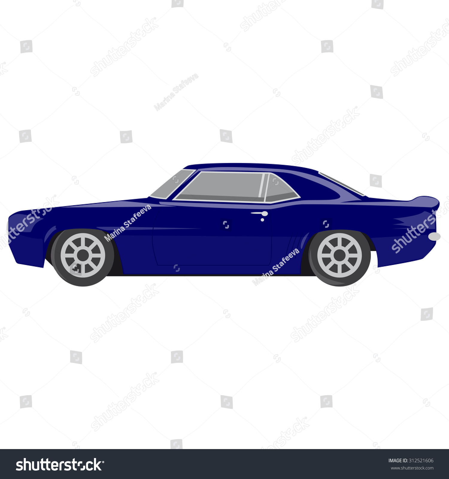 Blue Sport Car, White Background
