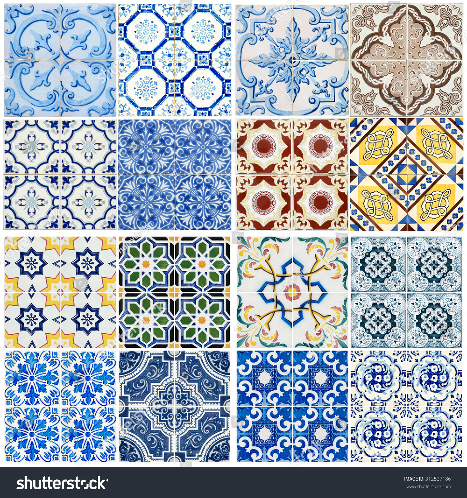 Colorful Vintage Ceramic Tiles Wall Decoration Stock Photo (100 ...
