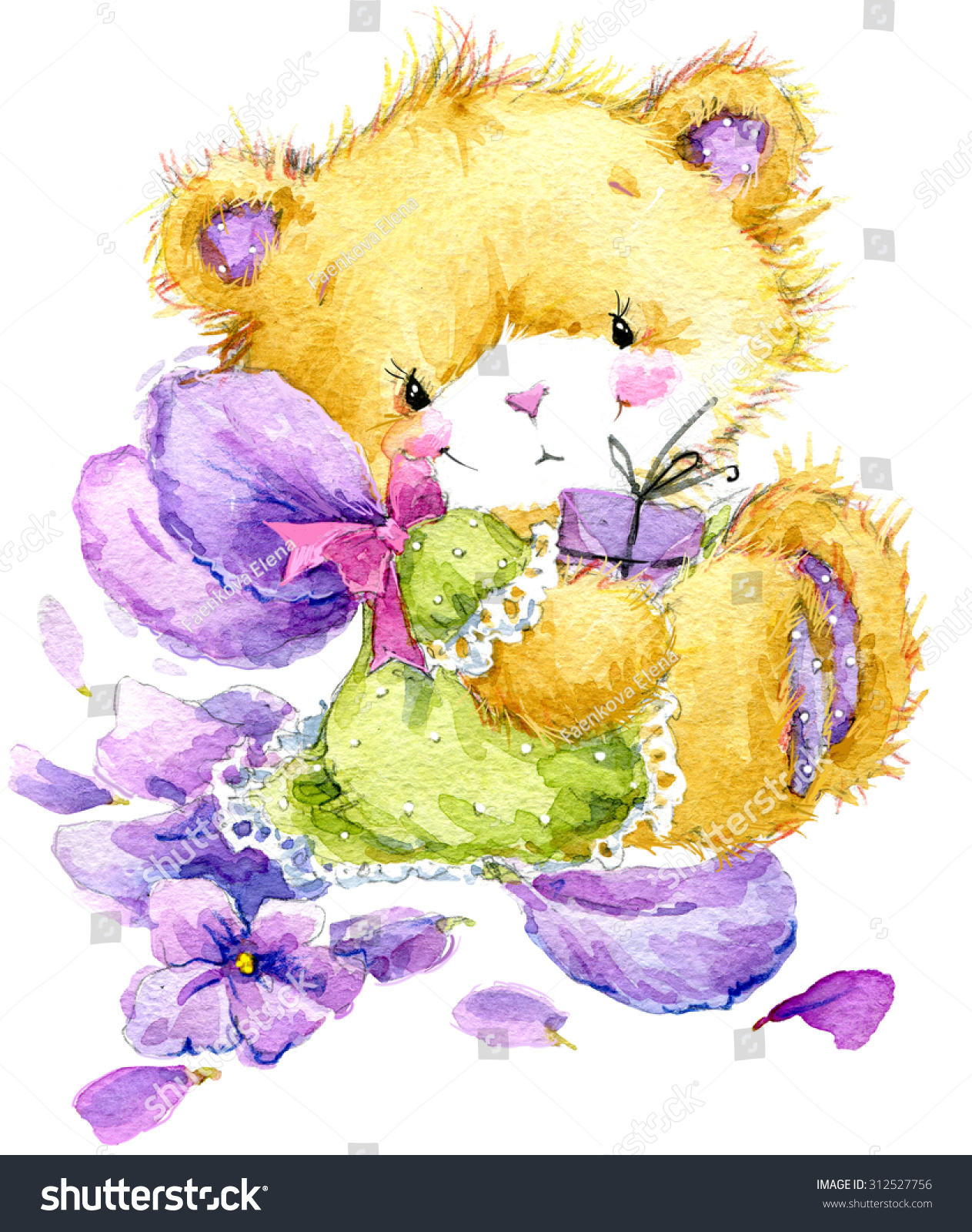 Toy Teddy Bear Flower Violet Toy Stock Illustration 312527756