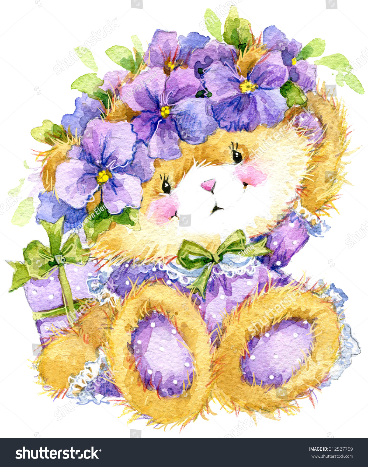 Toy Teddy Bear Flower Violet Toy Stock Illustration 312527759
