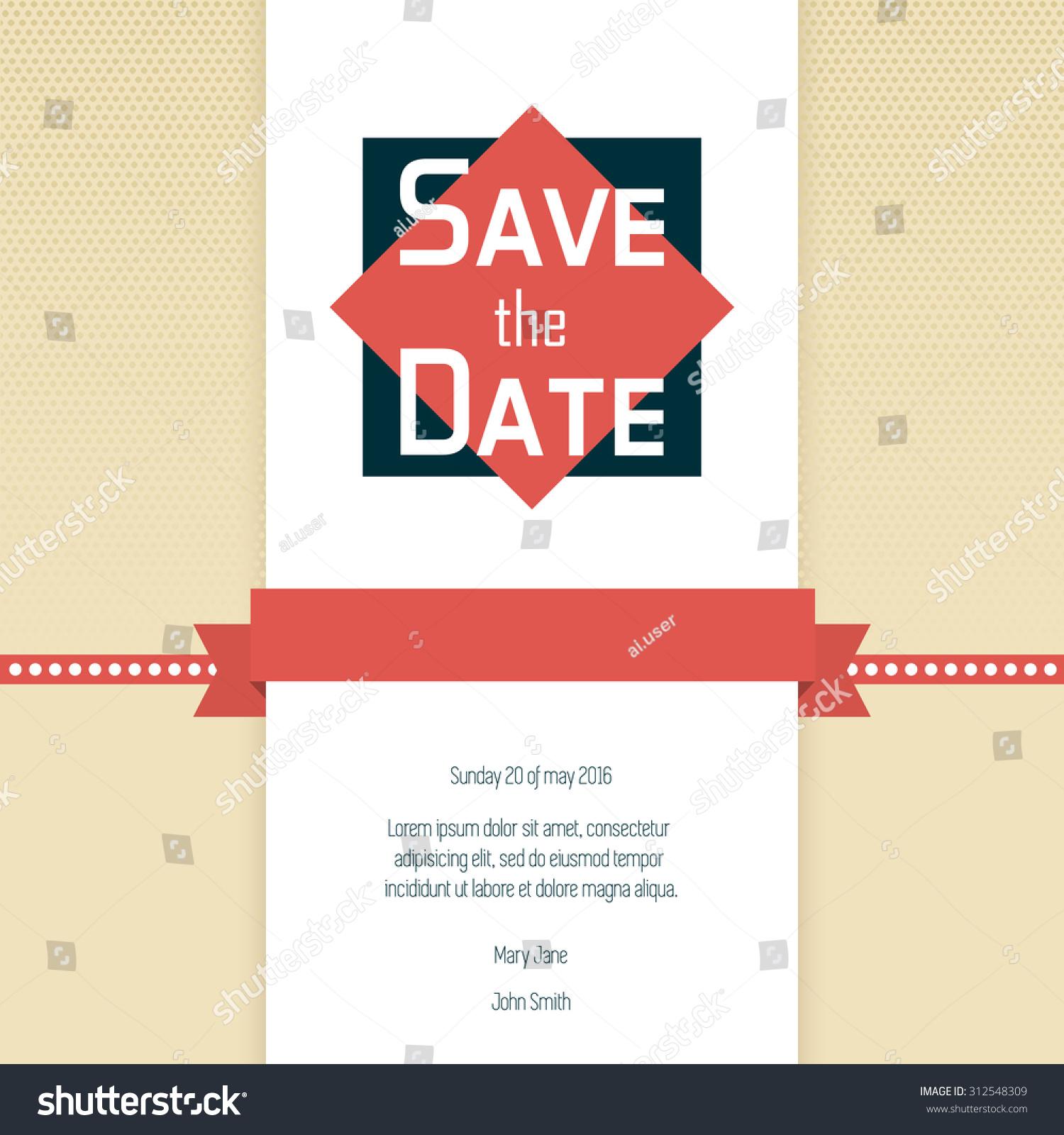 Save Date Wedding Invitation Template Stock Vector 312548309 ...