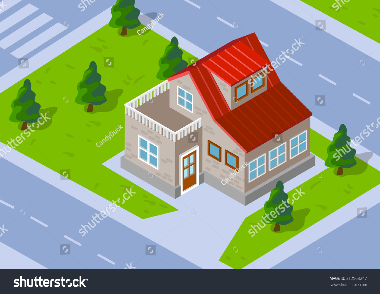 isometric town house green lawn stock vector 312568247 shutterstock isometric town house with a green lawn