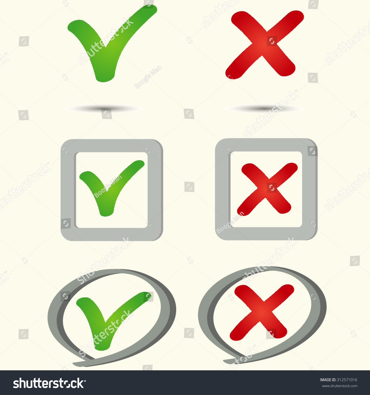 Tick Cross Icons Yes No Symbols Stock Vector 312571016 Shutterstock