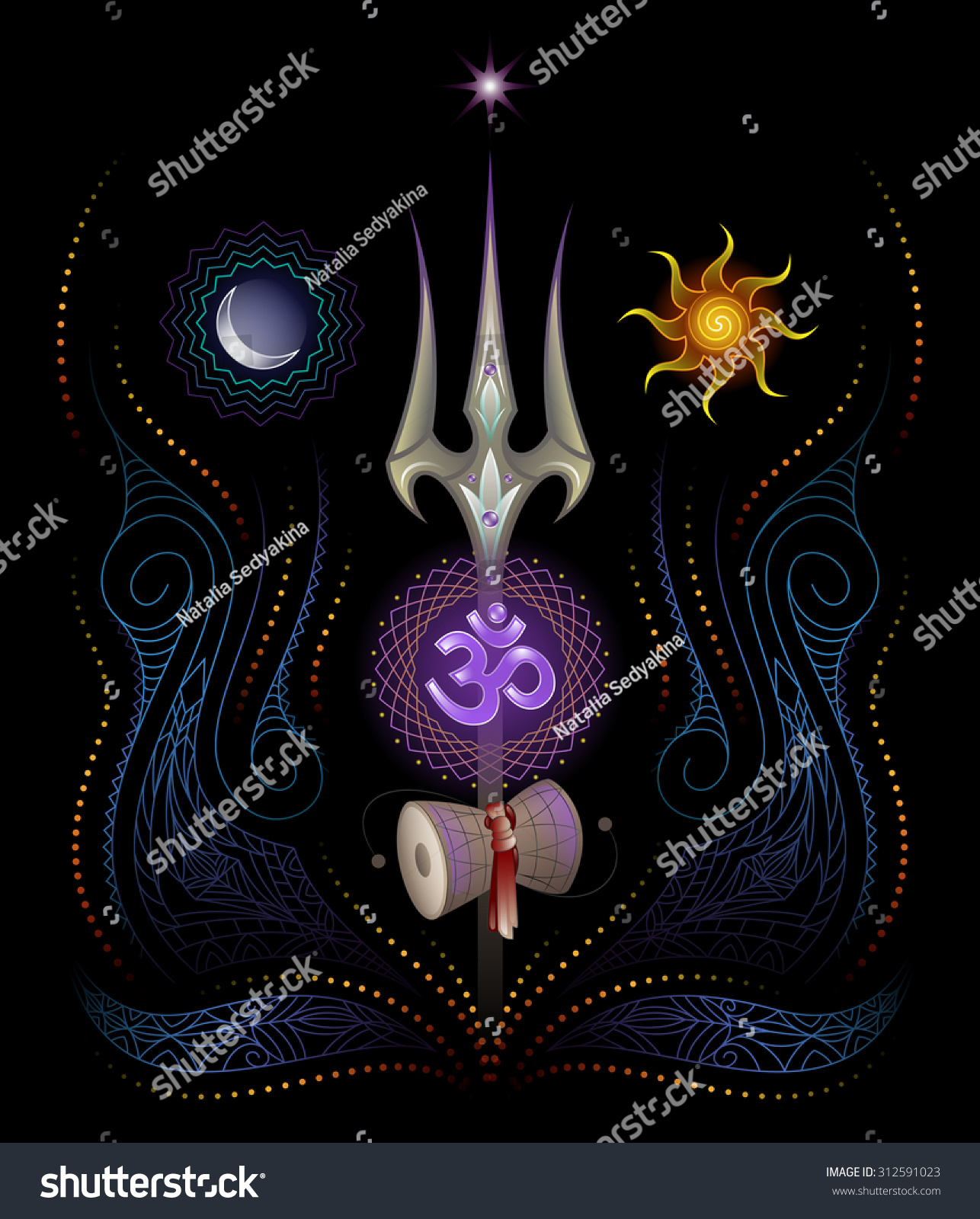 Lord shiva trishul picture - Sacred Symbols Of Yoga And Lord Shiva Trishul Sound Om And Drum Damaru