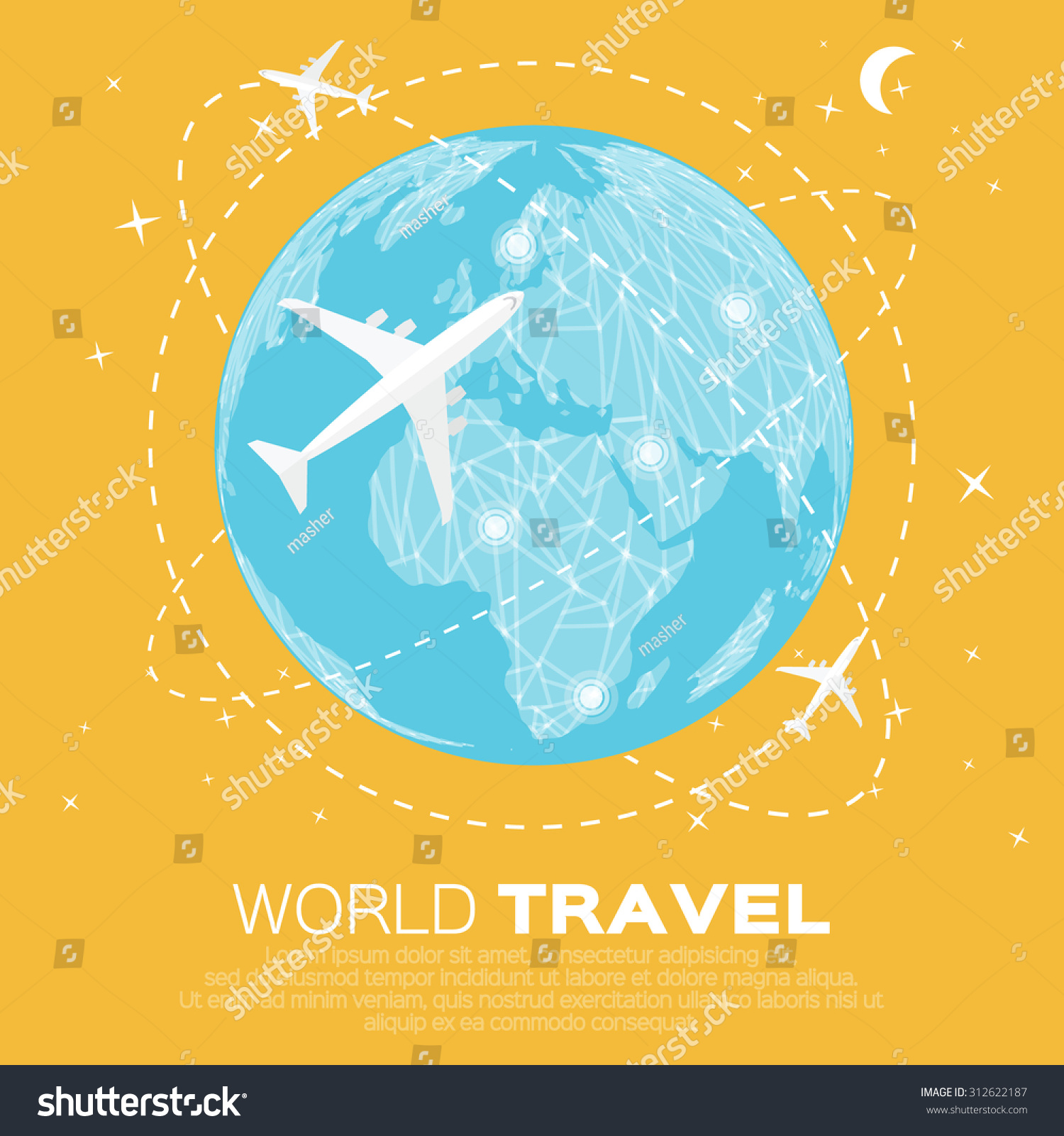 Travel world map background polygonal style vectores en stock travel world map background in polygonal style with top view airplane vector illustration design gumiabroncs Gallery