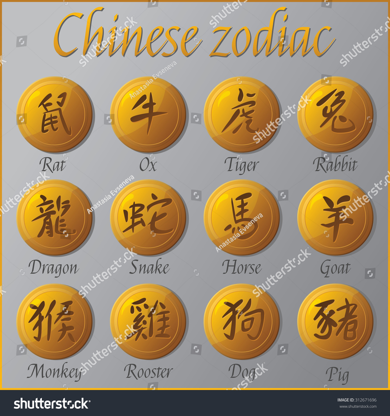 Horoscope Chinese Zodiac Symbols Vector Illustration Stock Vector