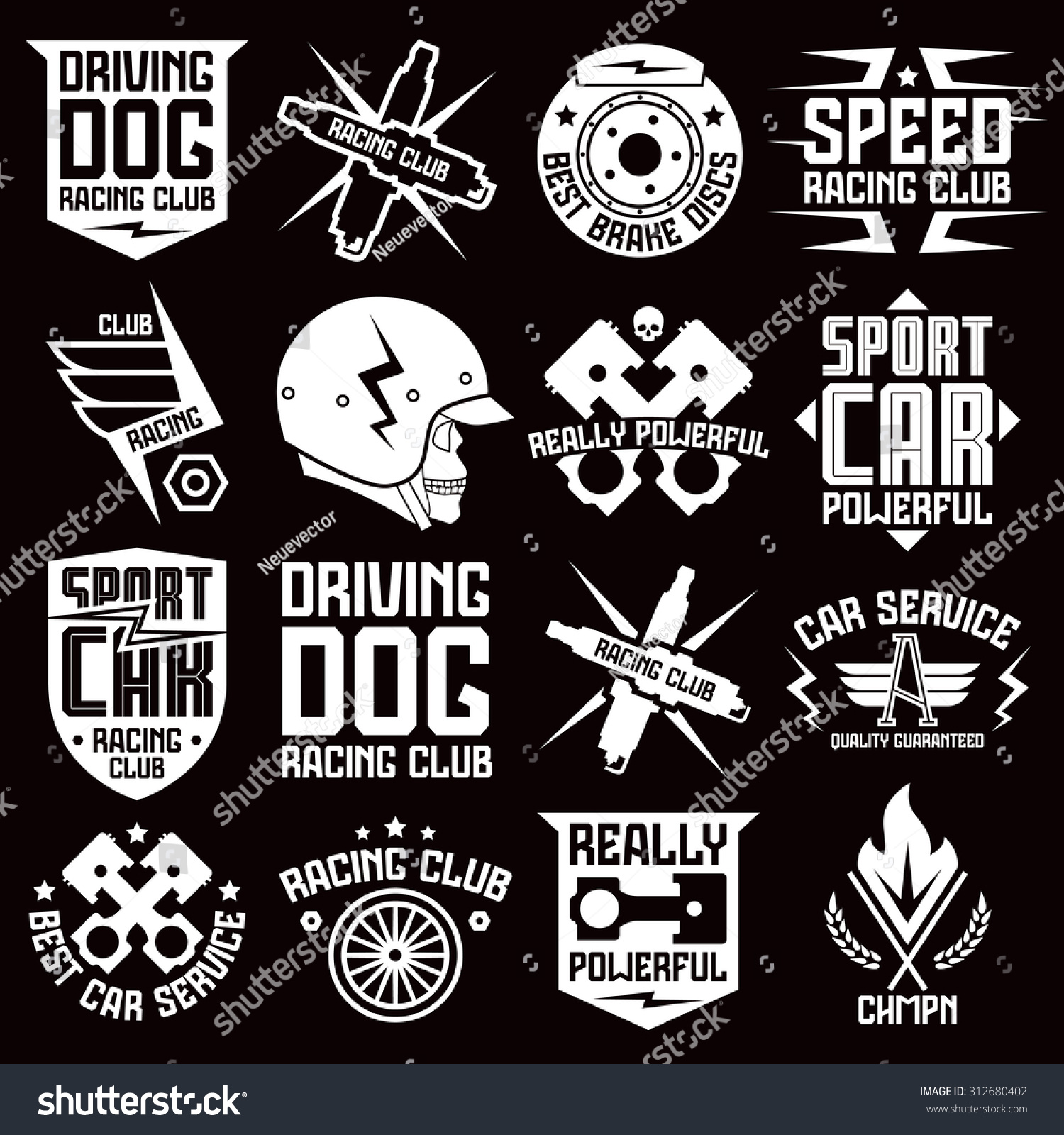 Vinyl stickers and badges on car graphic design for t shirt and stickers