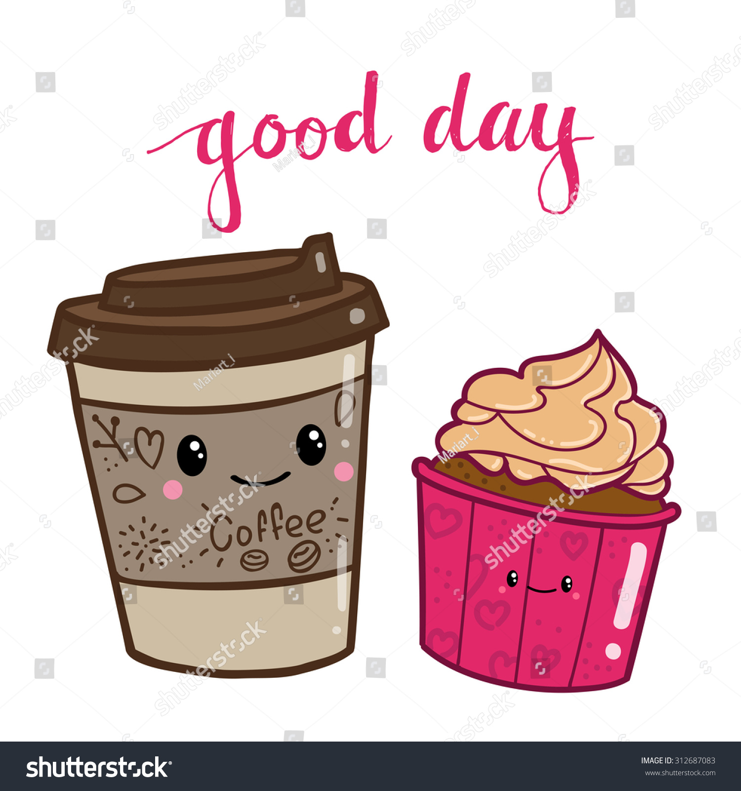 Cute Cartoon Cake Images : Cute Doodle Cartoon Hand Drawn Coffee Stock Vector ...