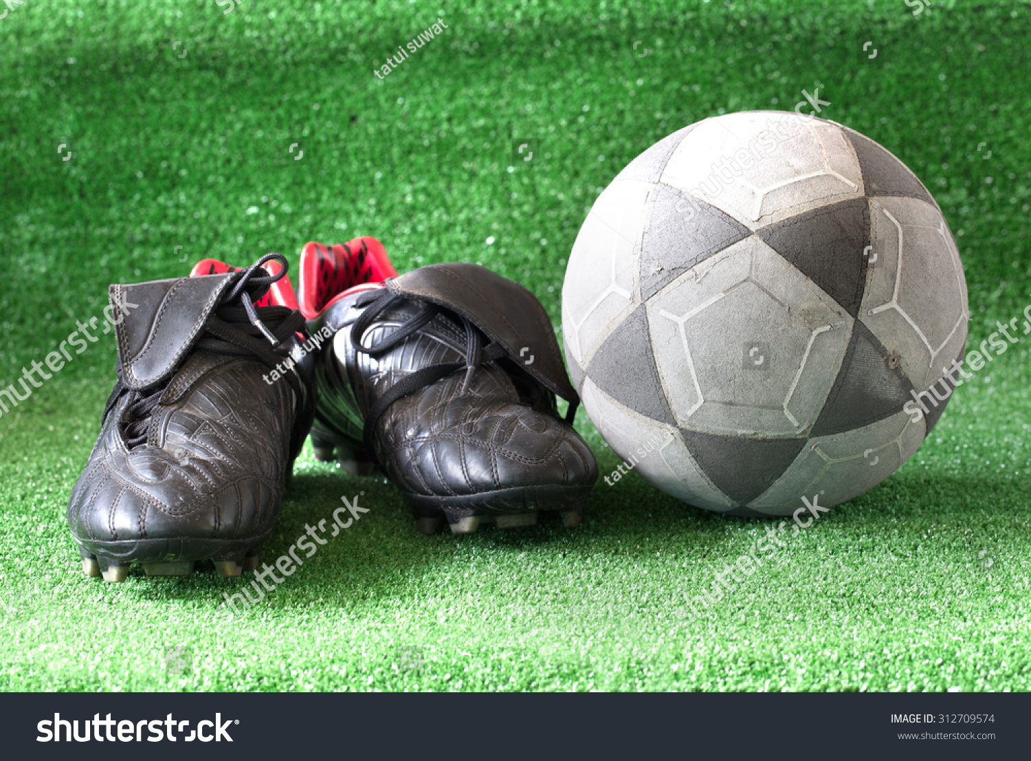 eab47f7d9 Football Soccer Shoes On Green Grass Stock Photo (Edit Now ...