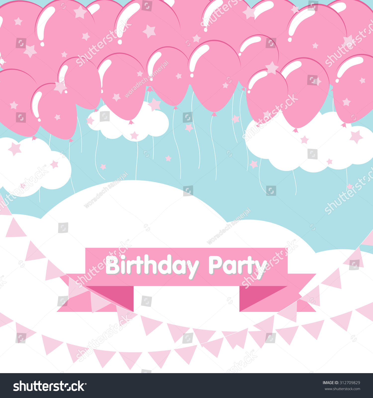 Birthday Background With Light Pink Balloons Flat Design Style