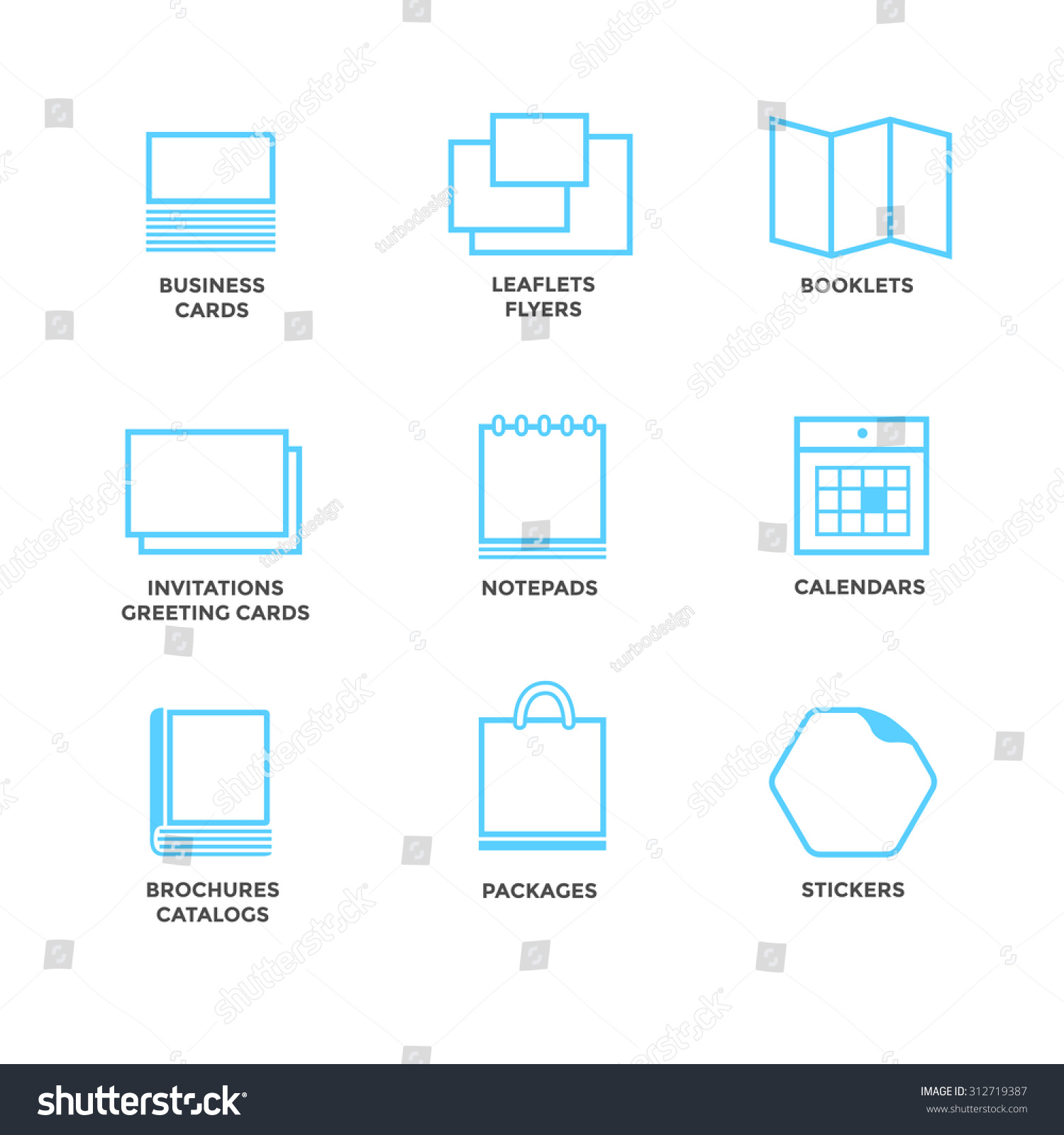icons various print media size format stock vector