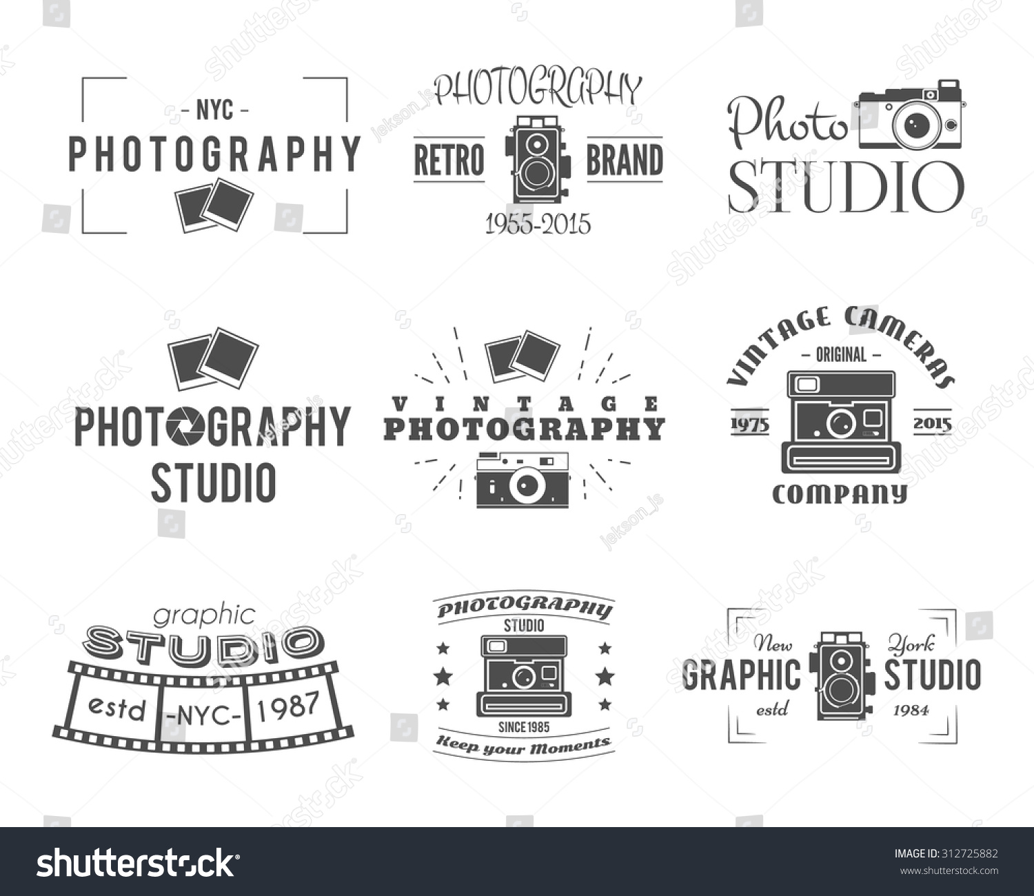 Camera Dslr Camera Logo camera logo vintage photography badges labels stock vector dslr hipster design with photographer elements