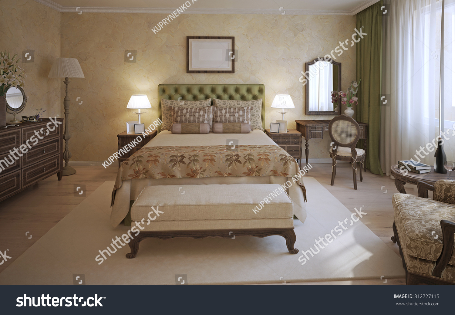 Master Bedroom English Style Room Twoplace Stock Illustration ...