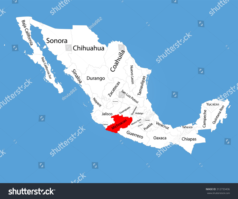 Michoacan Mexico Vector Map Silhouette Isolated Stock Vector - Michoacan mexico map