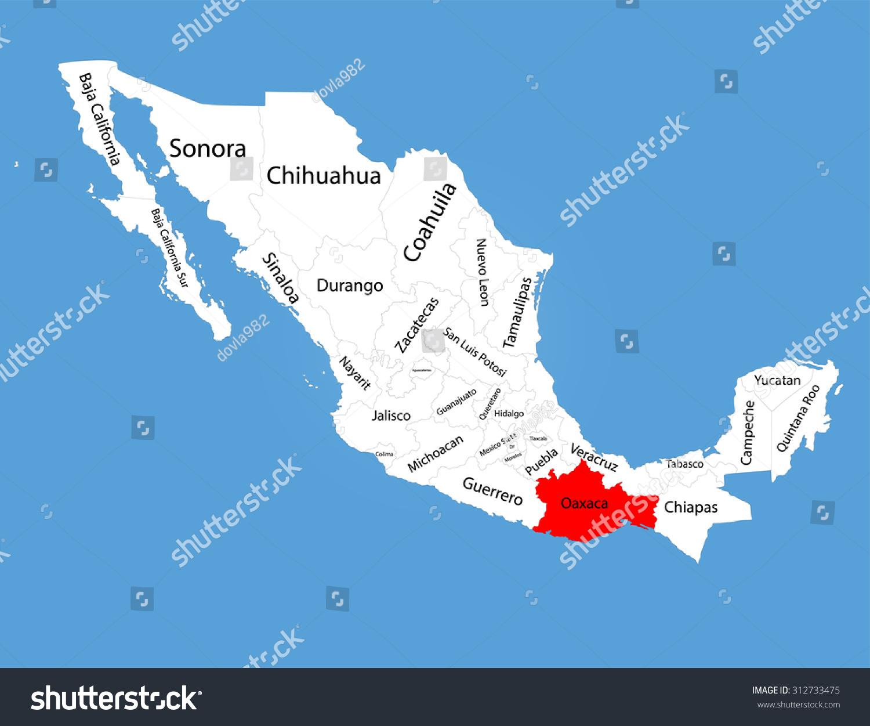 Oaxaca Mexico Vector Map Silhouette Isolated Stock Vector 312733475
