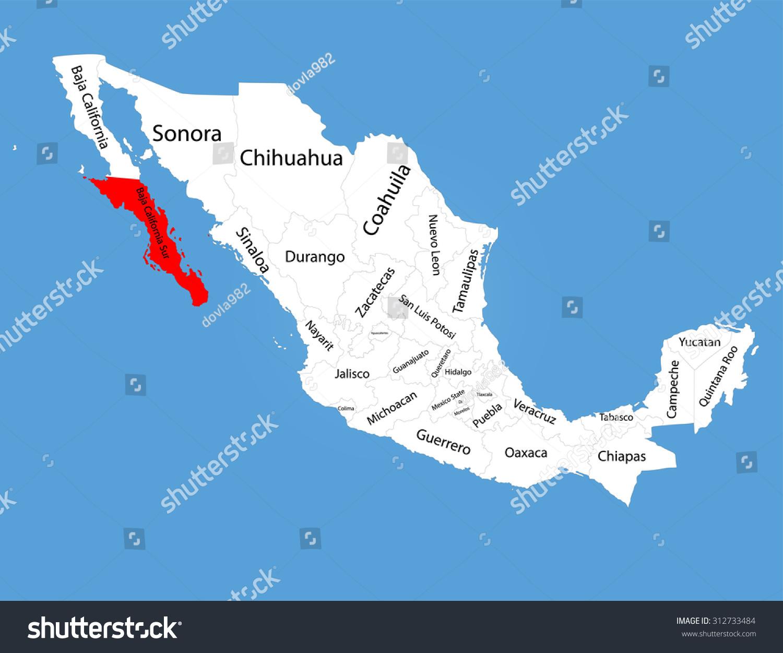 Baja California Sur Mexico Vector Map Stock Vector Royalty Free