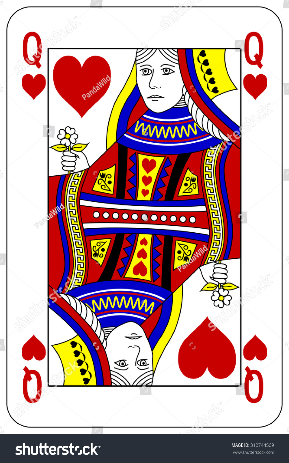 Poker Playing Card Queen Heart Stock Vector Royalty Free 312744569