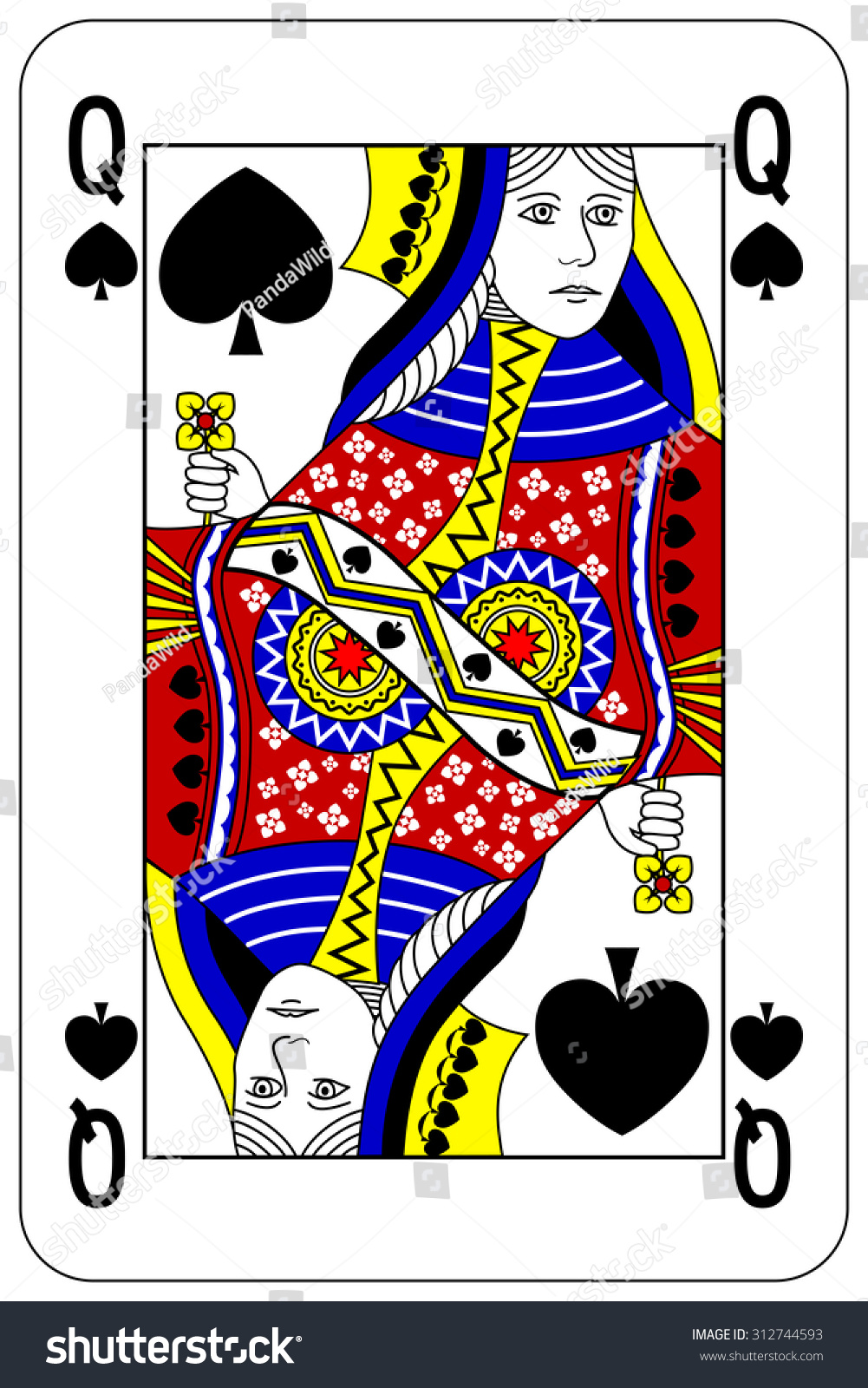 Poker Playing Card Queen Spade Stock Vector Royalty Free 312744593