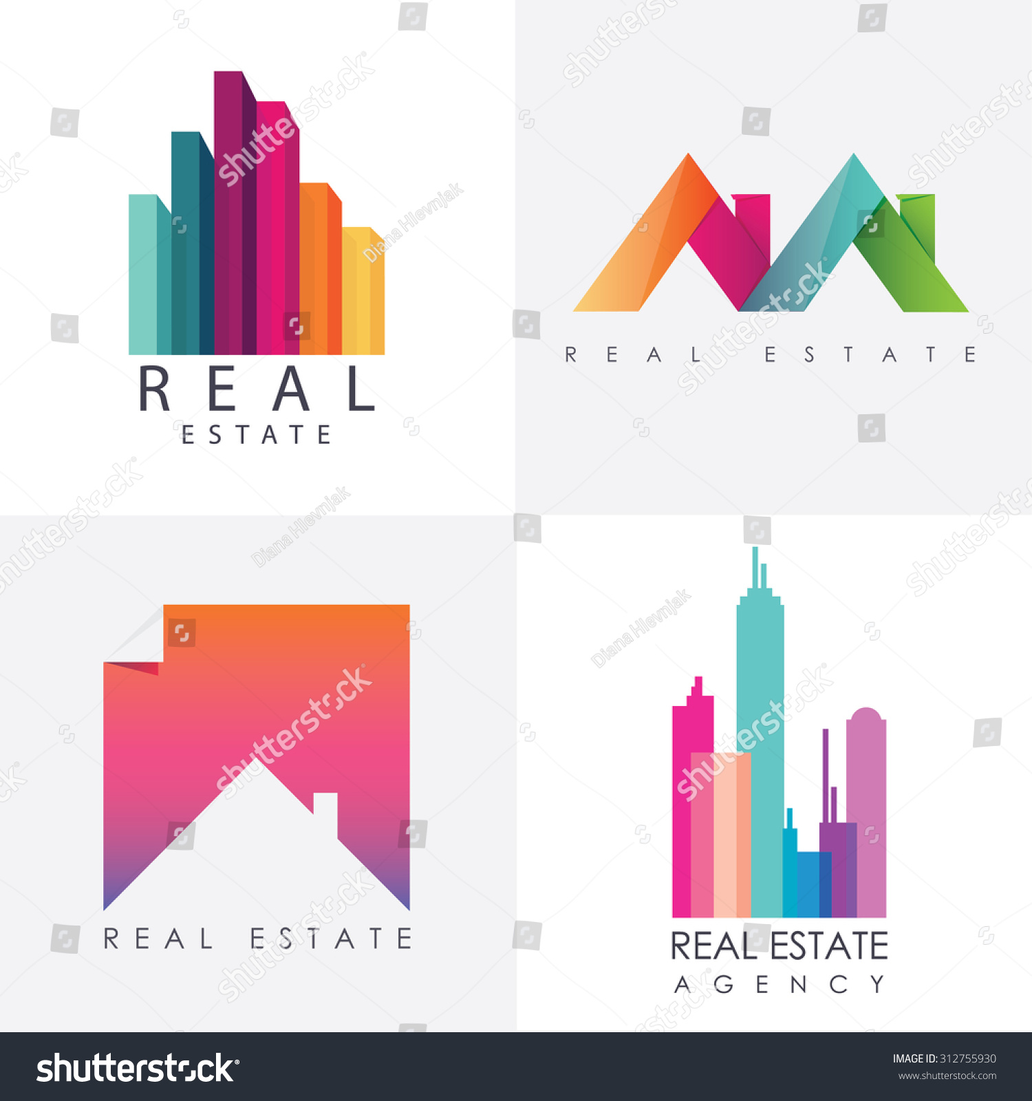 Real Estate Calendar Design : Set colorful multicolored real estate logo stock vector