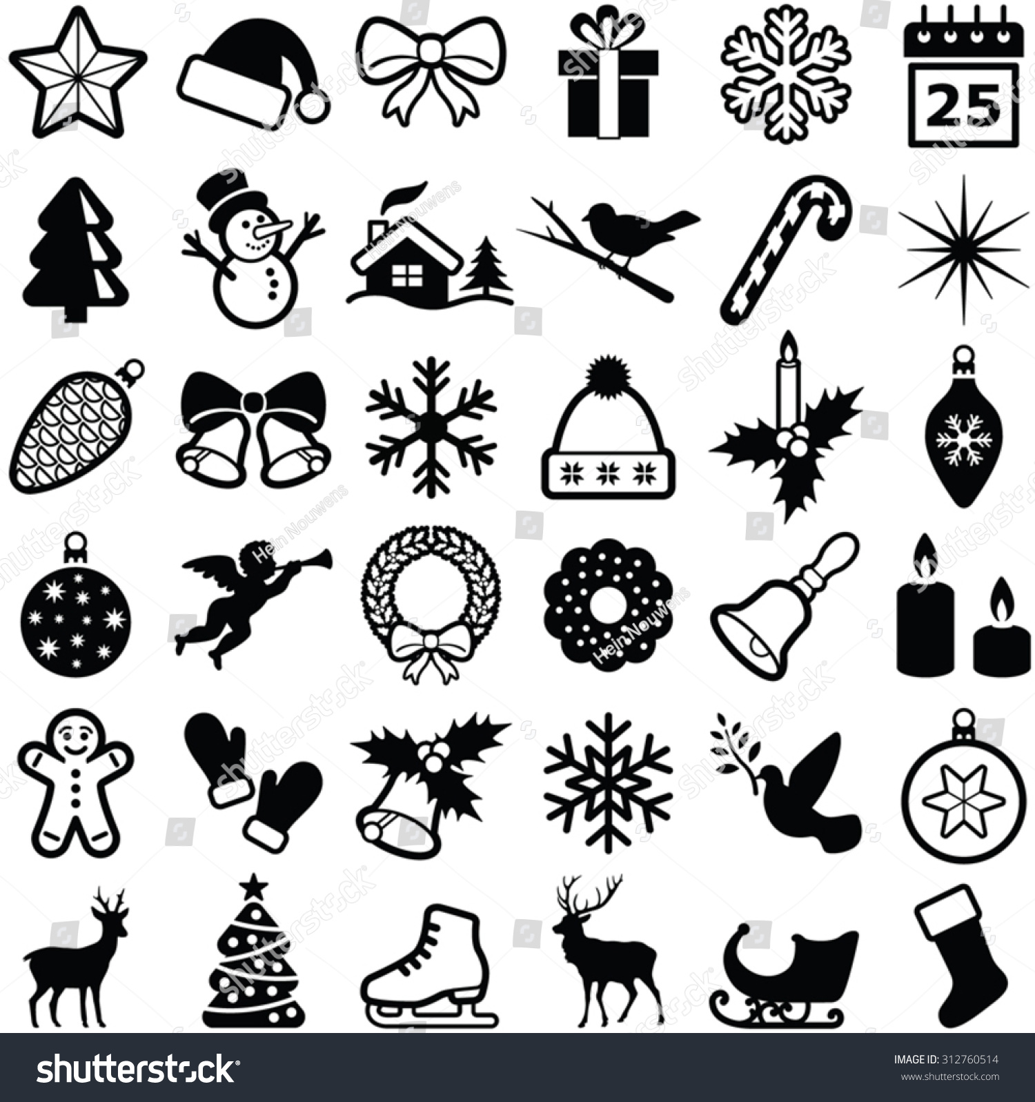 Christmas Winter Icons Collection Vector Silhouette Stock ...