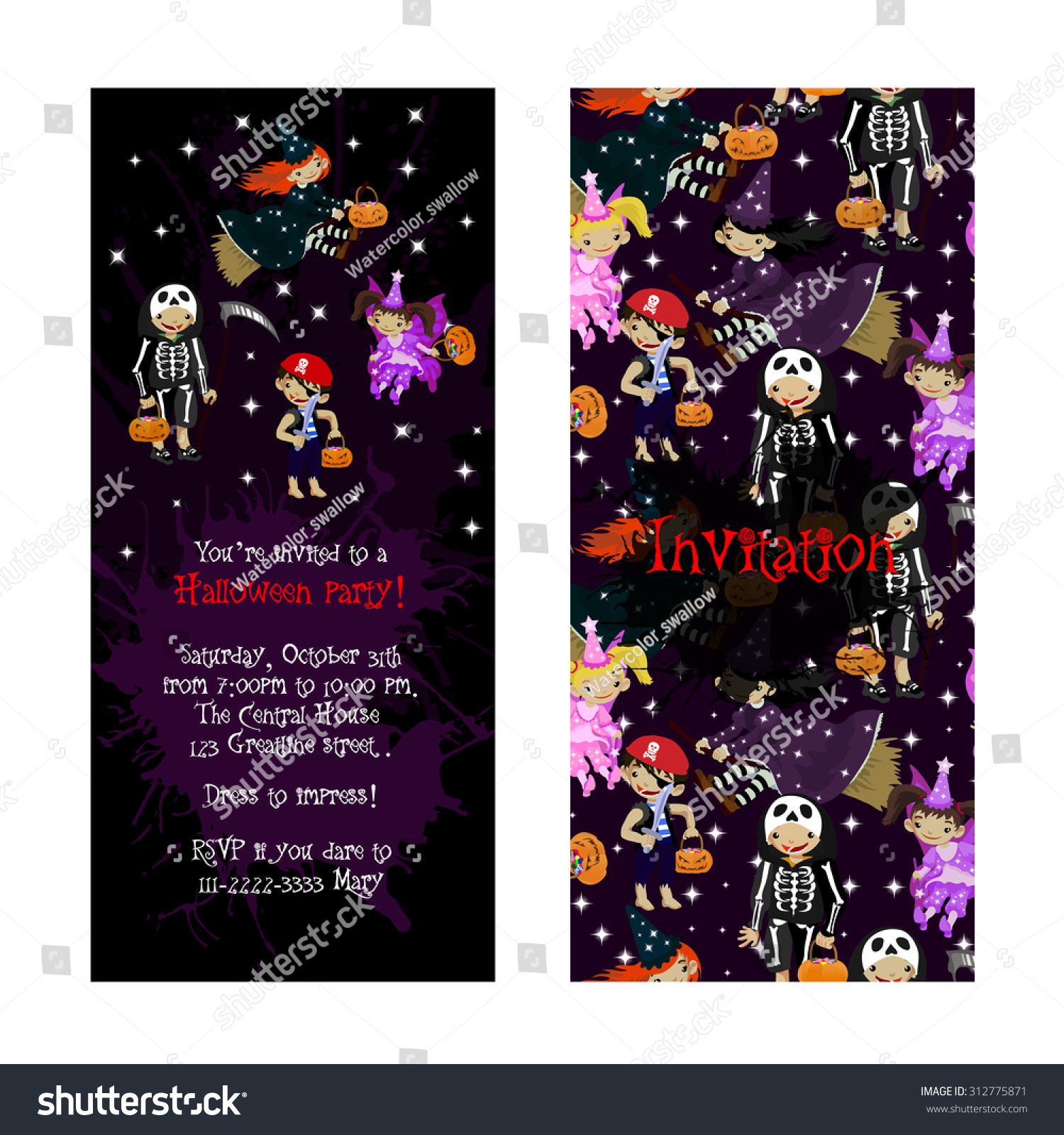 Cute Invitation For Kids Halloween Party. Illustration Of Fairy ...