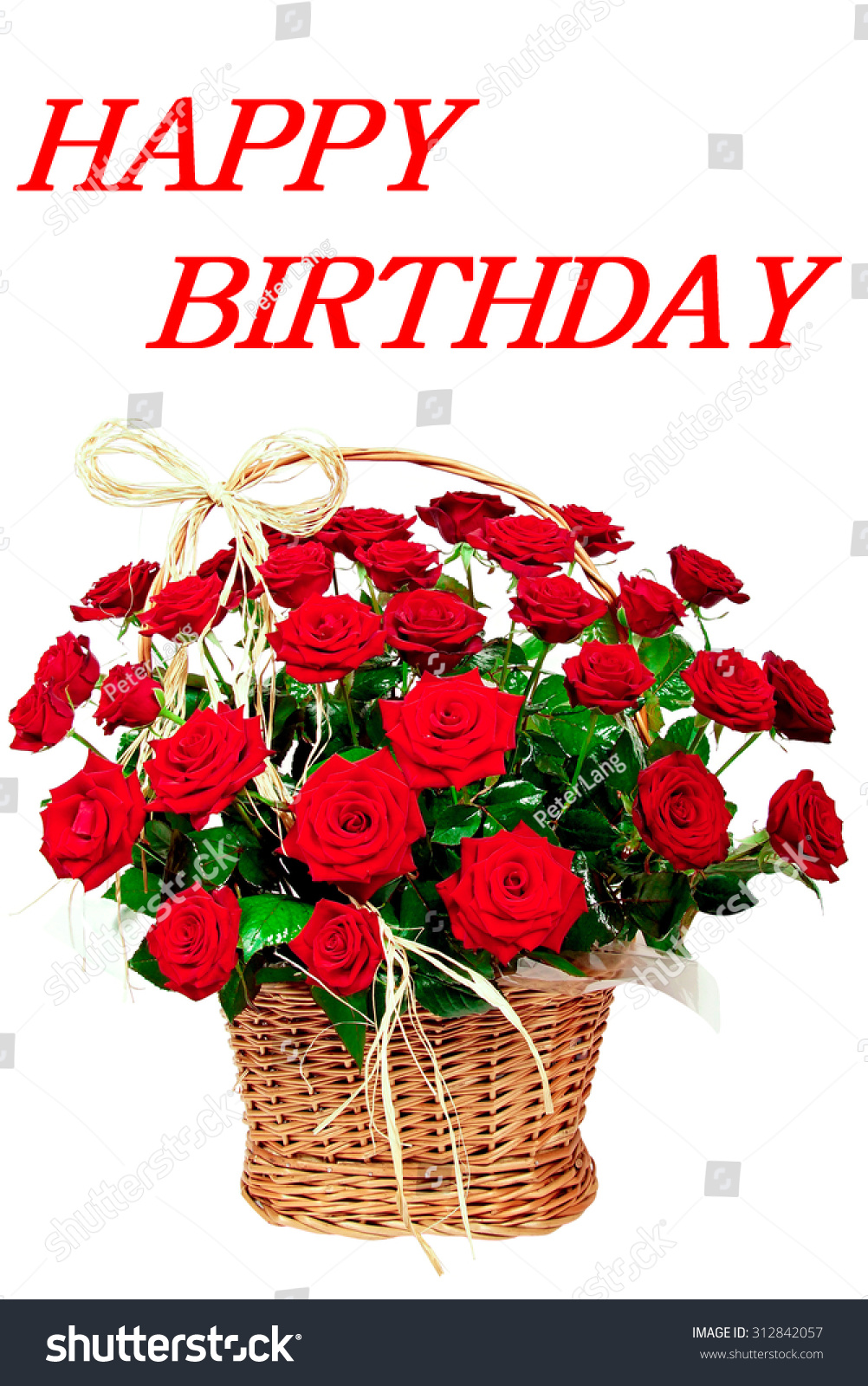 Happy Birthday Red Beautiful Flowers Roses Stock Photo Edit Now