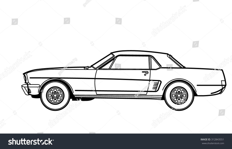 muscle car drawing stock-vektorgrafik (lizenzfrei) 312843551