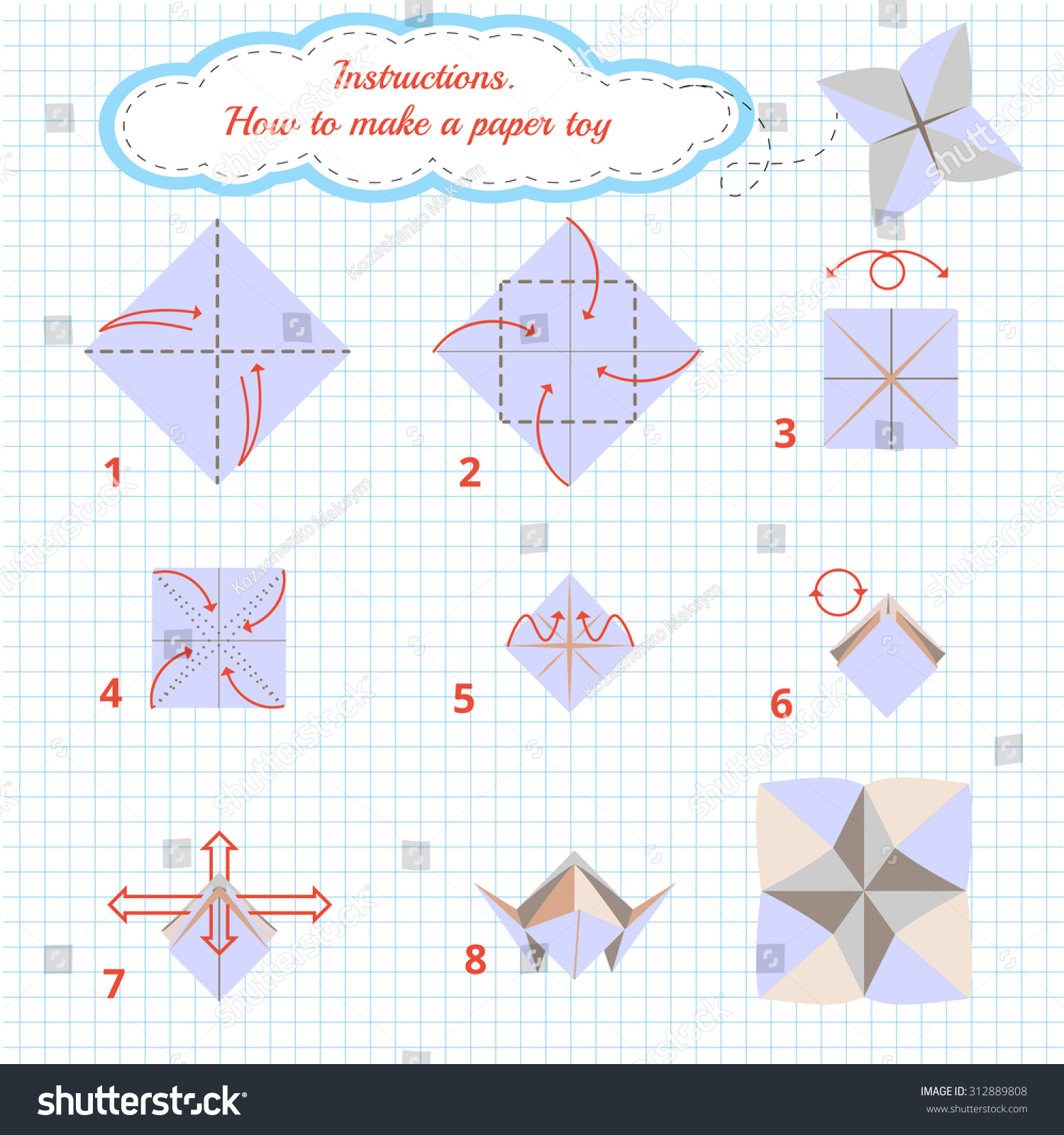 instructions how make paper agilel toy stock vector