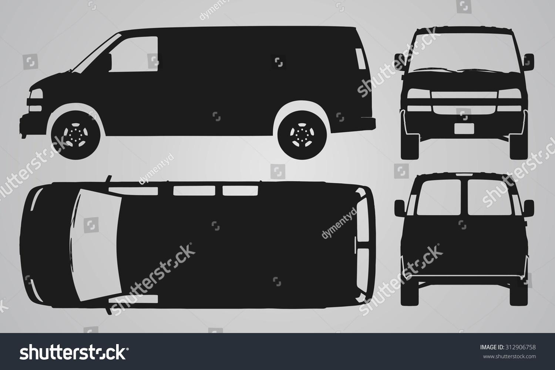 front back top side van car stock vector 312906758 shutterstock. Black Bedroom Furniture Sets. Home Design Ideas
