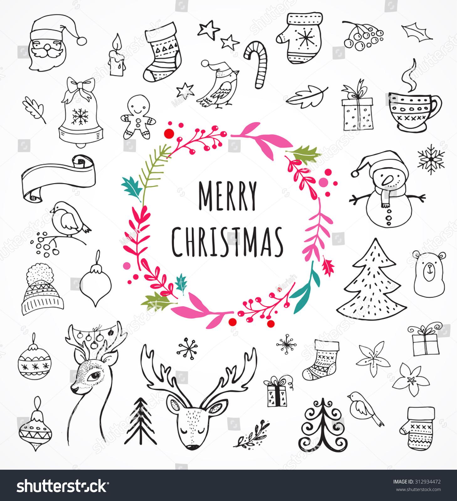 Merry christmas doodle xmas symbols hand stock vector 312934472 merry christmas doodle xmas symbols hand drawn illustrations sketches biocorpaavc