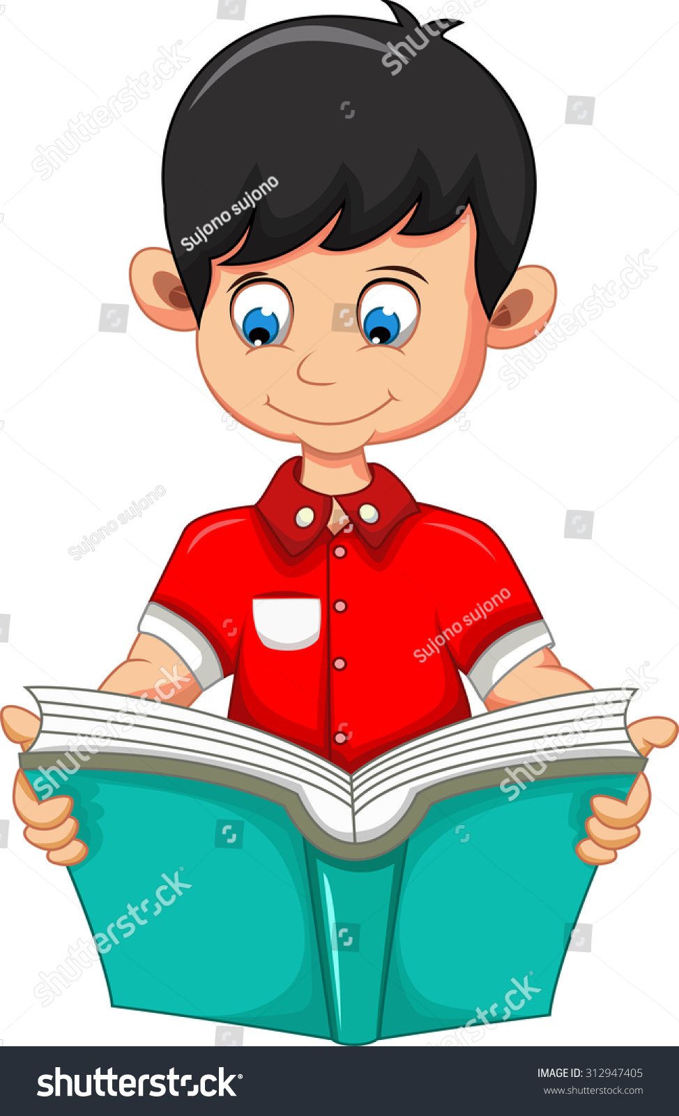Boy Cartoon Reading Book You Design Stock Vector 312947405 ...