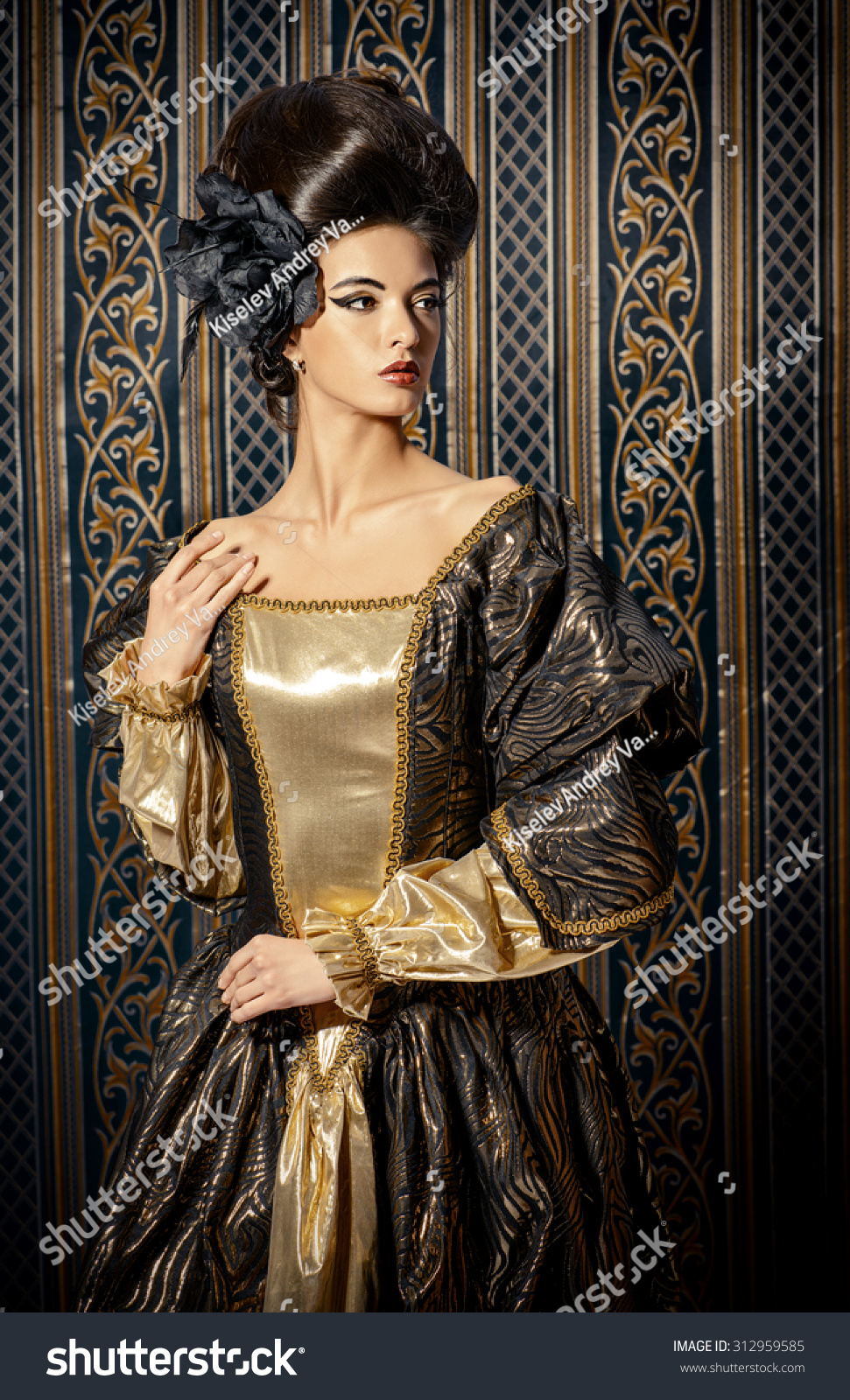Baroque style beautiful young woman elegant stock photo for Baroque fashion trend