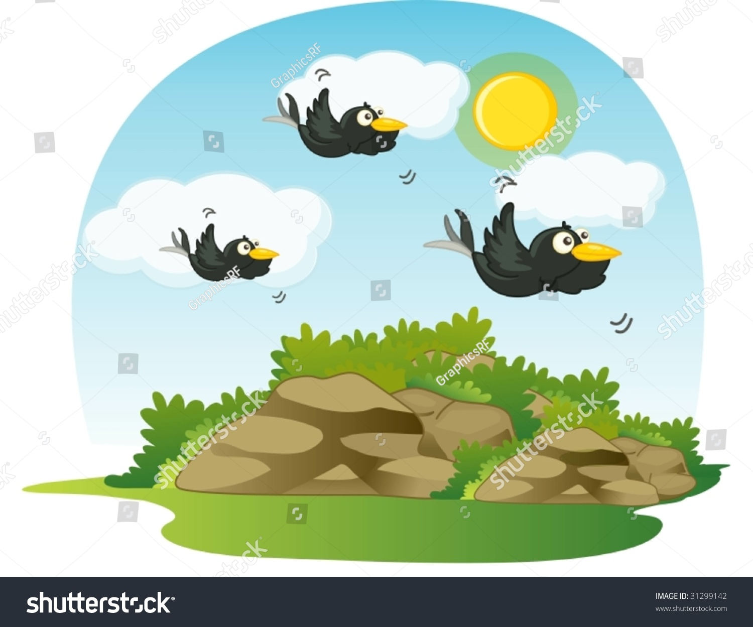 Stock Vector Illustration Of Birds Flying In The Clouds