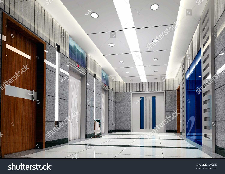 Modern design interior elevator lobby 3d stock photo for Modern elevator design