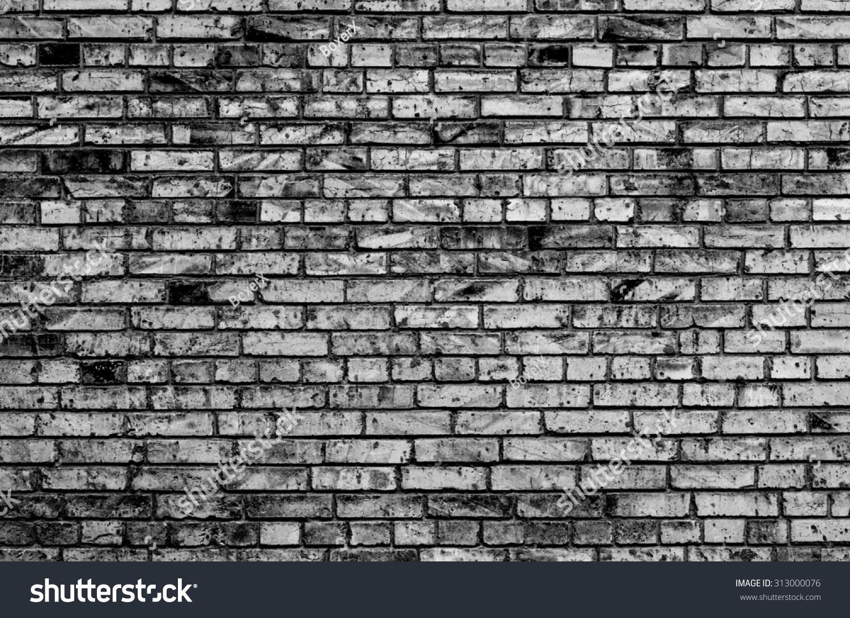 Texture Brick Wall Contrast Black White Stock Photo
